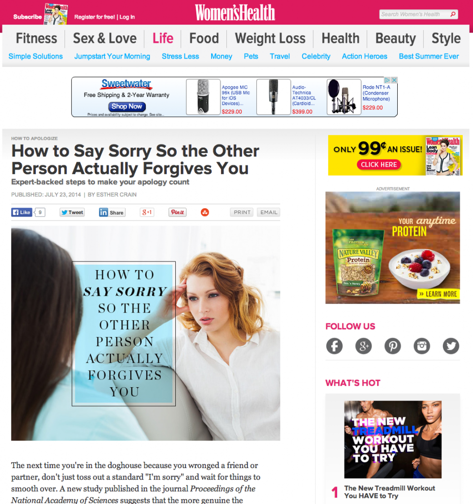 Psychologist Los Angeles - womenshealthmag article July 2014   Brentwood, Santa Monica, Culver City, Beverly Hills